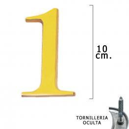 Numero Latón 1 10 Cm. Con Tornilleria Oculta (Blister 1 Pieza)