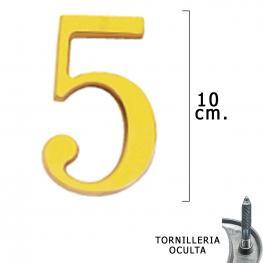 Numero Latón 5 10 Cm. Con Tornilleria Oculta (Blister 1 Pieza)
