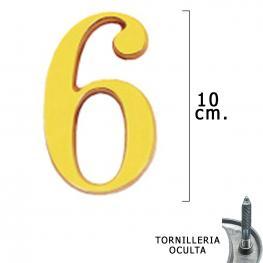 Numero Latón 6 10 Cm. Con Tornilleria Oculta (Blister 1 Pieza)