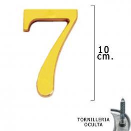 Numero Latón 7 10 Cm. Con Tornilleria Oculta (Blister 1 Pieza)