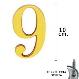 Numero Latón 9 10 Cm. Con Tornilleria Oculta (Blister 1 Pieza)