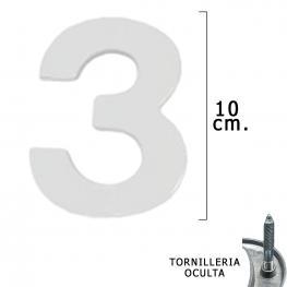 Numero Metal 3 Plateado Mate 10 Cm. Con Tornilleria Oculta (Blister 1 Pieza)