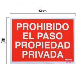 Cartel Prohibido el Paso Propiedad Privada 30X42