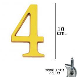 Numero Latón 4 10 Cm. Con Tornilleria Oculta (Blister 1 Pieza)