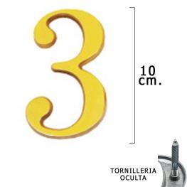 Numero Latón 3 10 Cm. Con Tornilleria Oculta (Blister 1 Pieza)