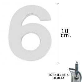 Numero Metal 6 Plateado Mate 10 Cm. Con Tornilleria Oculta (Blister 1 Pieza)
