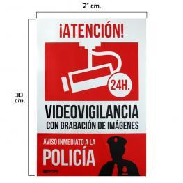 Cartel Alarma Conectada Aviso A Policia 30X21