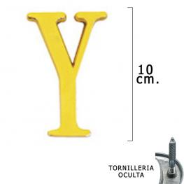 Letra Latón y 10 Cm. Con Tornilleria Oculta (Blister 1 Pieza)