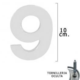 Numero Metal 9 Plateado Mate 10 Cm. Con Tornilleria Oculta (Blister 1 Pieza)
