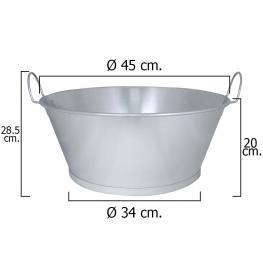 Barreño Galvanizado Baño  18  45X20 Cm. 22 Litros