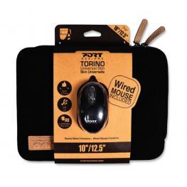 Pack Port Funda Portatil Torino Negra 13-14+Raton