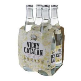 Agua Mineral Con Gas Vichy Catalán Natural Pack de 4 Botellas de Vidrio de 50 Cl.