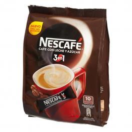 Café Soluble Natural Con Leche y Azúcar Nescafé 10 Unidades de 18 G.