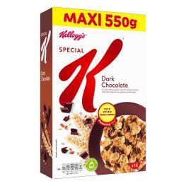 Cereales de Arroz, Trigo y Cebada Con Chocolate Negro Special K Kellogg'S 550 G.