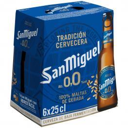 Cerveza San Miguel 0,0 Sin Alcohol Pack de 6 Botellas de 25 Cl.