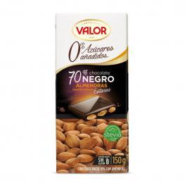 Chocolate Negro 70% Con Almendras Enteras y Stevia Sin Azúcar Añadido Valor Sin Gluten 150 G.