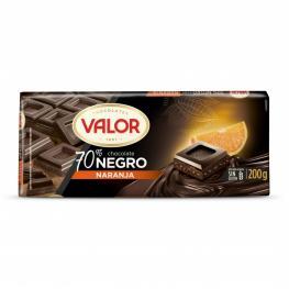 Chocolate Negro 70% Con Naranja Valor Sin Gluten 200 G.