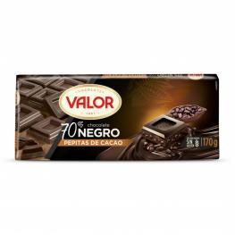 Chocolate Negro 70% Con Pepitas de Cacao Valor Sin Gluten 170 G.