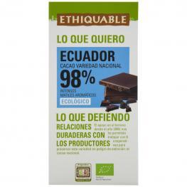 Chocolate Negro 98% Ecológico Ethiquable 100 G.