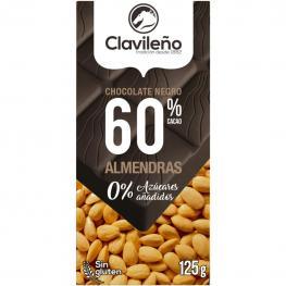 Chocolate Negro Extrafino 60% Con Almendras Sin Azúcar Añadido Clavileño Sin Gluten 125 G.