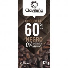 Chocolate Negro Extrafino 60% Sin Azúcar Añadido Clavileño Sin Gluten 125 G.