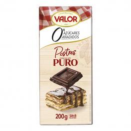 Chocolate Puro Para Postres Sin Azúcar Añadido Valor Sin Gluten 200 G.