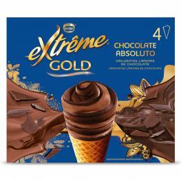 Conos Con Helado de Chocolate Nestlé Helados Extrême 4 Ud.