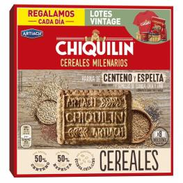 Galletas Con Harina de Centeno y Espelta, Con Quinoa, Chía y Lino Chiquilín Cereales Milenarios 260 G.
