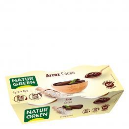 Postre de Arroz y Cacao Ecológico Naturgreen Sin Gluten y Sin Lactosa Pack de 2 Unidades de 125 G.