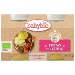 Tarrito de Frutas Con Cereal Desde 4 Meses Sin Azúcar Añadido Ecológico Babybio Sin Gluten Pack de 2 Unidades de 130 G.