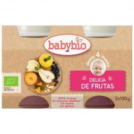 Tarrito Delicia de Frutas Desde 4 Meses Sin Azúcar Añadido Ecológico Babybio Sin Gluten Pack de 2 Unidades de 130 G.