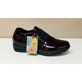 Zapato Abotinado Charol Burdeos