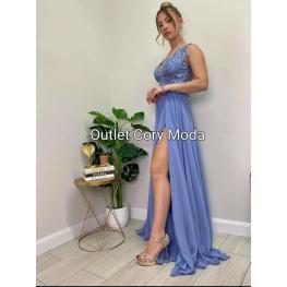 Vestido Largo Gabriela Color Grisaceo