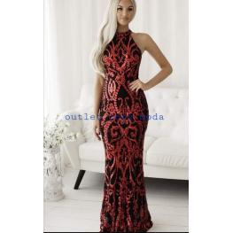 Vestido Largo Cancun Rojo/negro