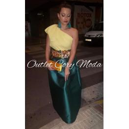 Falda de Fiesta Monica Color Verde Botella