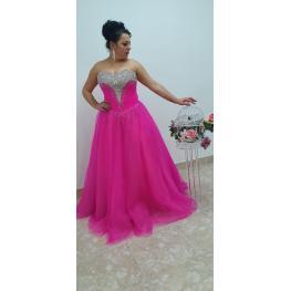 Vestido Cuento Largo Color Fucsia Quinceanera