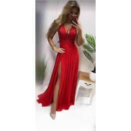 Vestido Mallorca Abertura Rojo