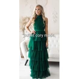 Vestido Largo Ariana Color Verde Botella