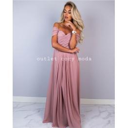 Vestido Largo Bardot Rosa