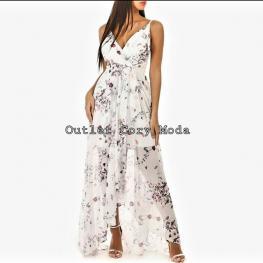 Vestido Bogota  Largo Asimetrico Blanco Con Flores
