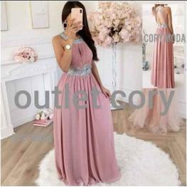 Vestido Largo London Color Rosa Empolvado