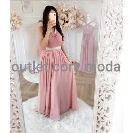 Vestido Largo Londres Color Rosa Empolvado