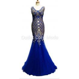 Vestido  de Fiesta Napoles Color Azul Electrico