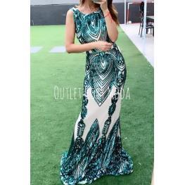 Vestido de Fiesta Largo Oliva Color  Verde