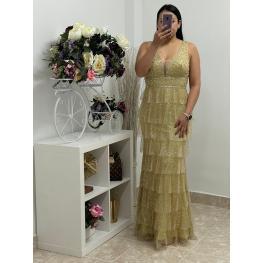Vestido de Fiesta Praga Color Dorado