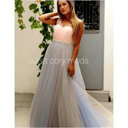Vestido de Fiesta Largo  Princesa Color Rosa / Gris