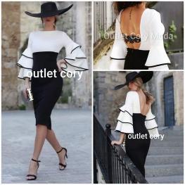 Vestido de Fiesta Corto Triana, Color Blanco y Negro