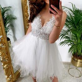 Vestido de Fiesta Corto Vanesa Color Blanco