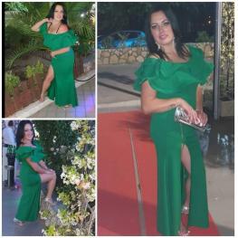 Vestido Largo Volantes Color Verde Hierba