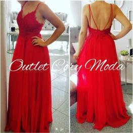 Vestido de Fiesta Fino Color Rojo